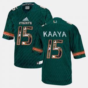 Player Pictorial For Men's Green Brad Kaaya Miami Jersey #15 763310-353