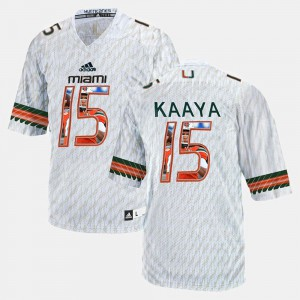 White #15 Brad Kaaya Miami Jersey Player Pictorial For Men 282578-814