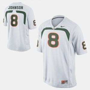 #8 College Football Youth(Kids) Duke Johnson Miami Jersey White 330645-695