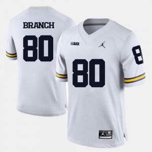 #80 Mens Alan Branch Michigan Jersey White College Football 376062-844