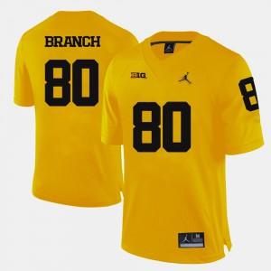 College Football #80 Alan Branch Michigan Jersey For Men Yellow 736362-426