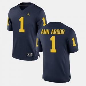 Alumni Football Game Ann Arbor Michigan Jersey #1 Navy Mens 975980-819