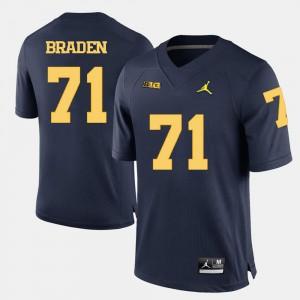 #71 Men's Navy Blue College Football Ben Braden Michigan Jersey 841403-696