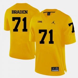 College Football Mens Ben Braden Michigan Jersey Yellow #71 941060-858