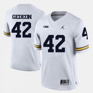 #42 College Football Men White Ben Gedeon Michigan Jersey 446775-591