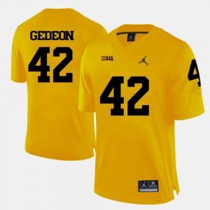 For Men's Ben Gedeon Michigan Jersey Yellow College Football #42 766642-762