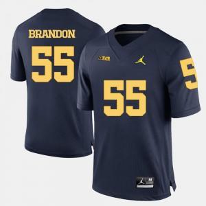 Navy Blue Brandon Graham Michigan Jersey College Football #55 Men's 363384-309
