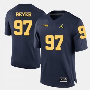 Navy Blue For Men's Brennen Beyer Michigan Jersey College Football #97 996966-249