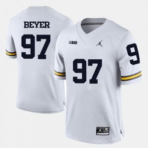 College Football White Brennen Beyer Michigan Jersey For Men #97 458028-573
