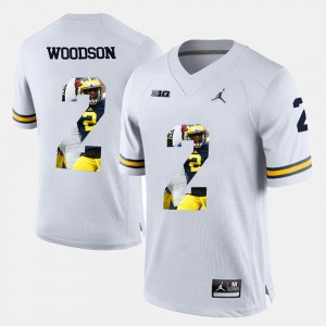 Charles Woodson Michigan Jersey #2 Player Pictorial Men White 410529-376