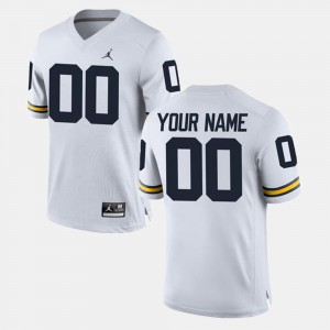 Michigan Customized Jersey White Mens #00 College Limited Football 520618-131