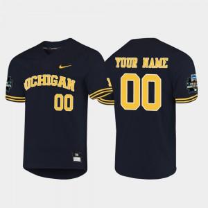 Men Navy 2019 NCAA Baseball College World Series #00 Michigan Customized Jersey 797951-481