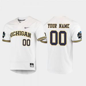 Michigan Customized Jersey #00 2019 NCAA Baseball College World Series For Men's White 765776-297