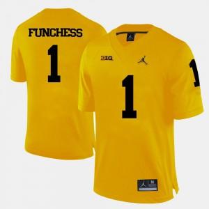 #1 Devin Funchess Michigan Jersey College Football Men Yellow 714878-372