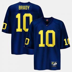 College Football #10 Men's Blue Tom Brady Michigan Jersey 253034-738