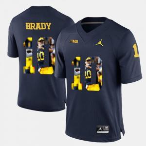 For Men Player Pictorial #10 Tom Brady Michigan Jersey Navy Blue 483402-967