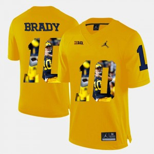 #10 Yellow Player Pictorial Tom Brady Michigan Jersey Mens 290906-578