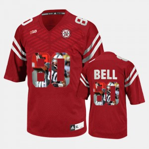 #80 Player Pictorial Kenny Bell Nebraska Jersey Red Men's 506338-801