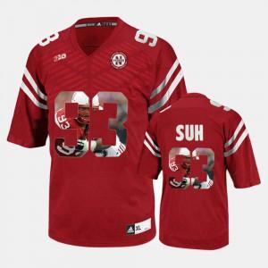Men's Player Pictorial Red #93 Ndamukong Suh Nebraska Jersey 796588-837