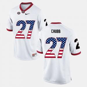 #27 Nick Chubb UGA Jersey White Men's US Flag Fashion 401683-899