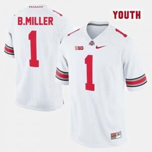 #1 Braxton Miller OSU Jersey College Football White Youth(Kids) 836968-911