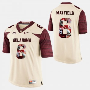Men's Player Pictorial White Baker Mayfield OU Jersey #6 700460-126