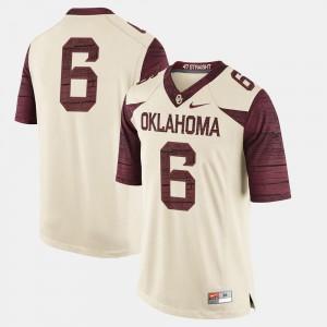Men's Cream College Football #6 OU Jersey 839775-442