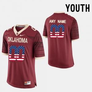 #00 OU Custom Jerseys US Flag Fashion Red Youth 349989-781