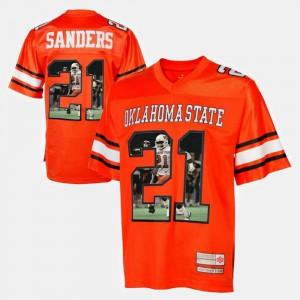 Men's #21 Orange Player Pictorial Barry Sanders Oklahoma State Jersey 873615-394