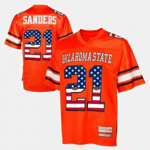 #21 Orange Throwback Men Barry Sanders Oklahoma State Jersey 342094-265