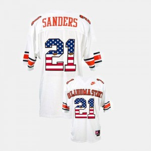 White Throwback Barry Sanders Oklahoma State Jersey #21 For Men's 256478-322