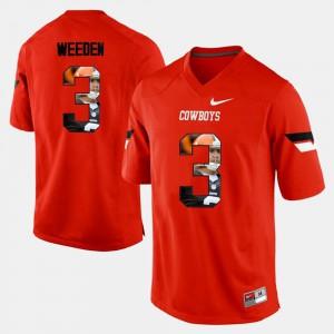 Player Pictorial Brandon Weeden Oklahoma State Jersey Men Orange #3 600278-139