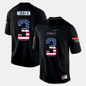 #3 US Flag Fashion Brandon Weeden Oklahoma State Jersey Black Men 834980-694