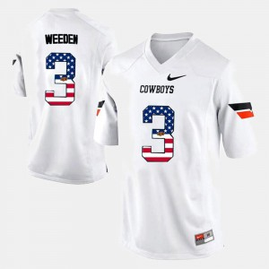 White US Flag Fashion #3 Brandon Weeden Oklahoma State Jersey Mens 762886-416