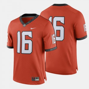 Orange College Football #16 Oklahoma State Jersey For Men's 521123-104