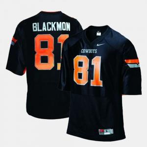 For Men's #81 College Football Justin Blackmon Oklahoma State Jersey Black 515278-154