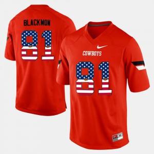 For Men's Justin Blackmon Oklahoma State Jersey #81 US Flag Fashion Orange 191849-990