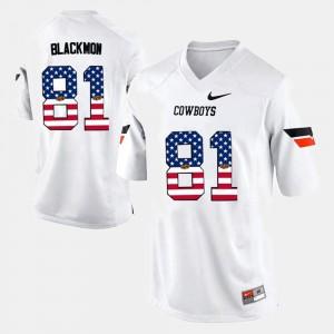 #81 US Flag Fashion Men's Justin Blackmon Oklahoma State Jersey White 635294-805