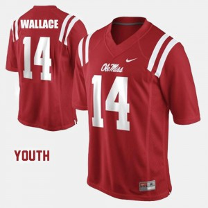 Red #14 College Football For Kids Bo Wallace Ole Miss Jersey 648989-832