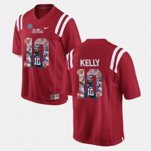 Men Player Pictorial Red Chad Kelly Ole Miss Jersey #10 415804-550