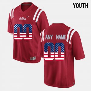 US Flag Fashion Red #00 Youth Ole Miss Customized Jerseys 931874-453