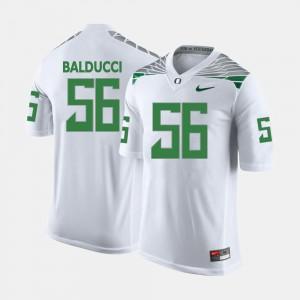 Men Alex Balducci Oregon Jersey College Football #56 White 840739-859