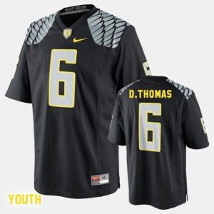 Youth(Kids) #6 College Football Black De'Anthony Thomas Oregon Jersey 550605-262