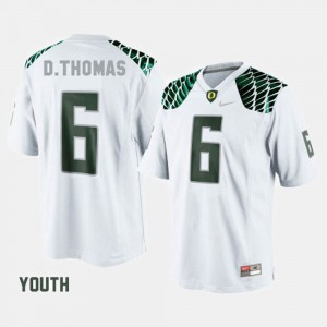 Youth(Kids) White #6 College Football De'Anthony Thomas Oregon Jersey 813411-766