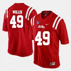 #49 Red Men's Alumni Football Game Patrick Willis Ole Miss Jersey 297239-550