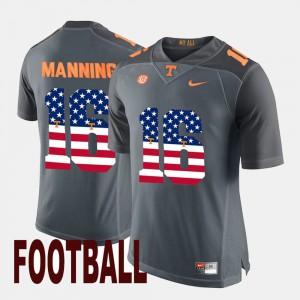 Gray US Flag Fashion Peyton Manning UT Jersey Men's #16 604820-672