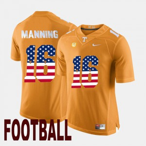 For Men US Flag Fashion #16 Peyton Manning UT Jersey Orange 138202-381