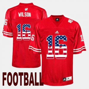 Russell Wilson Wisconsin Jersey US Flag Fashion #16 Mens Red 809526-127