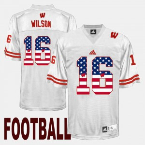White Russell Wilson Wisconsin Jersey US Flag Fashion #16 For Men 978948-559