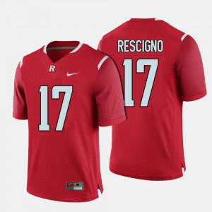 College Football #17 Giovanni Rescigno Rutgers Jersey Men Red 427432-598